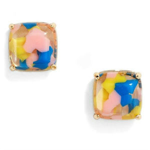 Kate Spade Square Stud Earrings Pink Yellow Blue